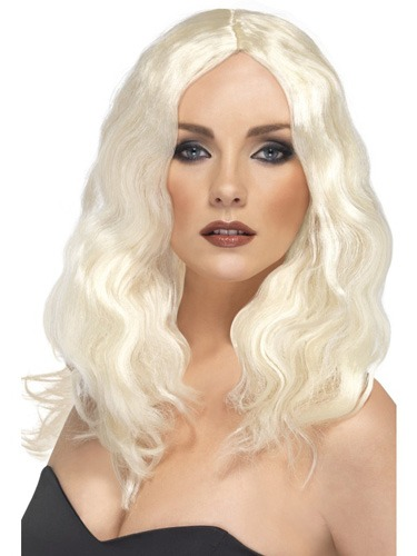Platinum Blonde Superstar Wigs With Skin Parting