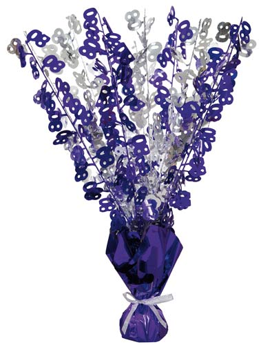 80th Purple And Silver Foil Balloon Weight Centrepiece