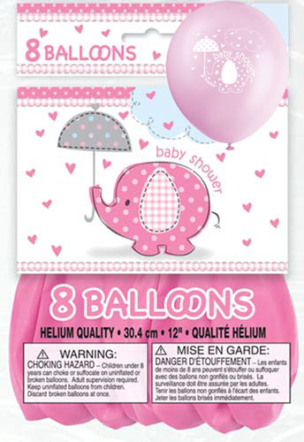 "12"" Pink Baby Shower Umbrella Elephants Latex Balloons 8pk"