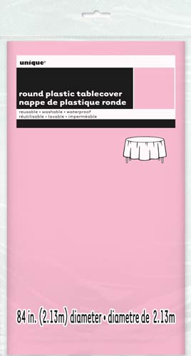 Lovely Pink Round Plastic Tablecover