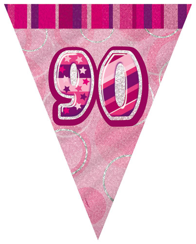 Age 90 Pink Glitz Pennant Banner