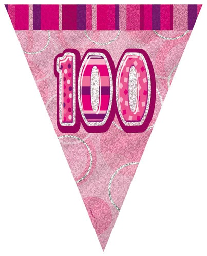 Age 100 Pink Glitz Pennant Banner