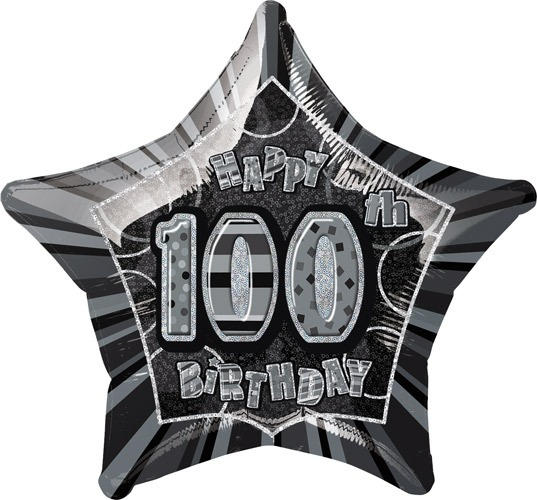 "20"" Happy 100th Birthday Glitz Foil Balloons"