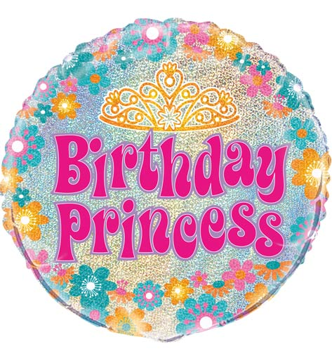 "18"" Birthday Princess Prismatic Foil Balloons"