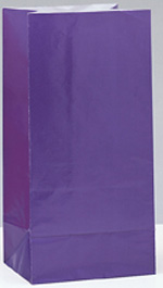 Purple Paper Party Bag 12pk