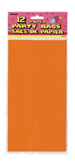 Orange Paper Party Bag 12pk