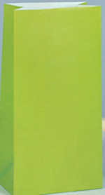 Lime Green Paper Party Bag 12pk