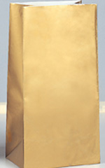 Gold Metallic Paper Party Bag 10pk