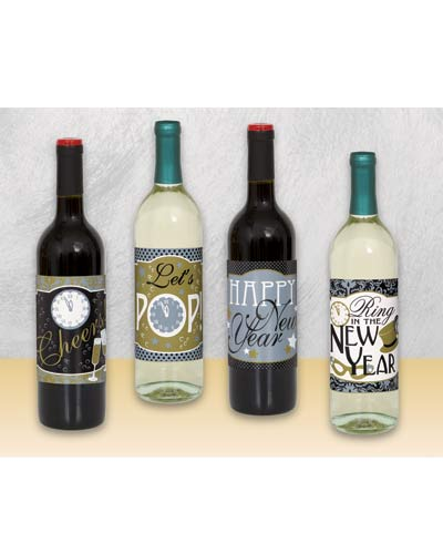 Jazzy New Year Wine Bottle Labels x4