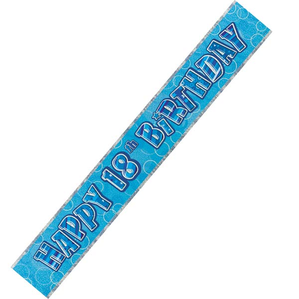 Happy 18th Birthday Blue Glitz Banner