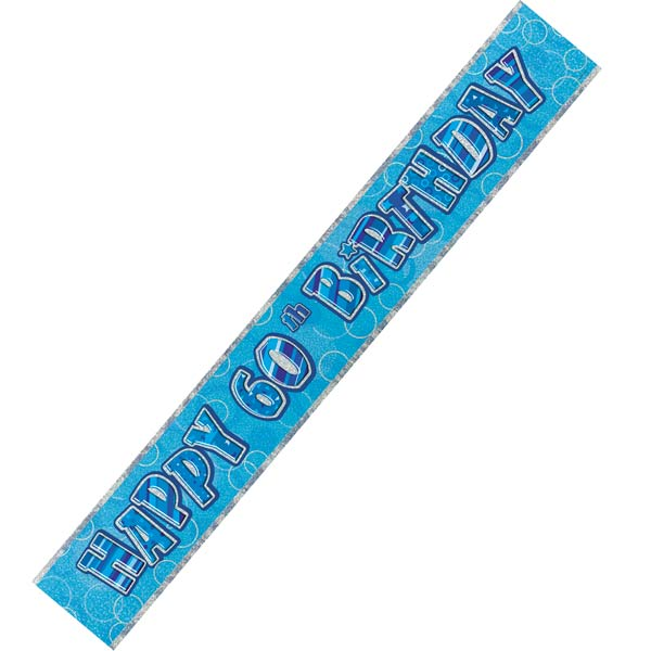 Happy 60th Birthday Blue Glitz Banner