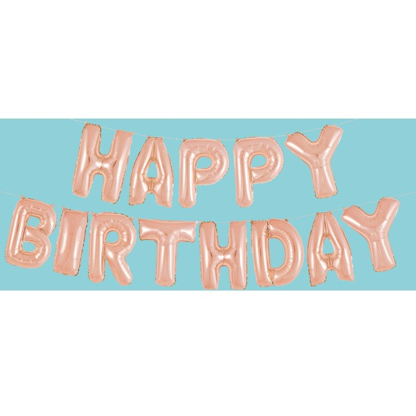 14 Happy Birthday Rose Gold Letter Balloons Banner Kit